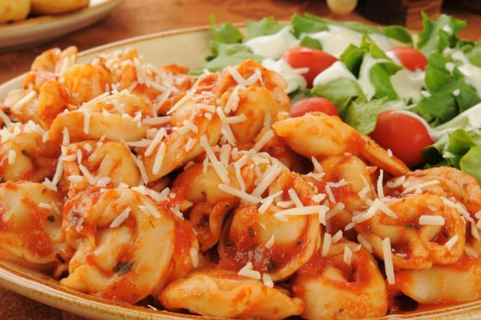 crockpot tortellini recipe with a side salad and homemade greek yogurt ranch dressing