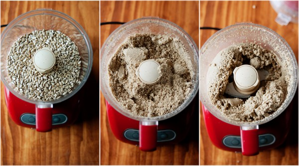 image: three side-by-side photos of sunflowers being blended in a food processor