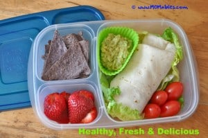 MOMables bean burrito in an easy lunch boxes container