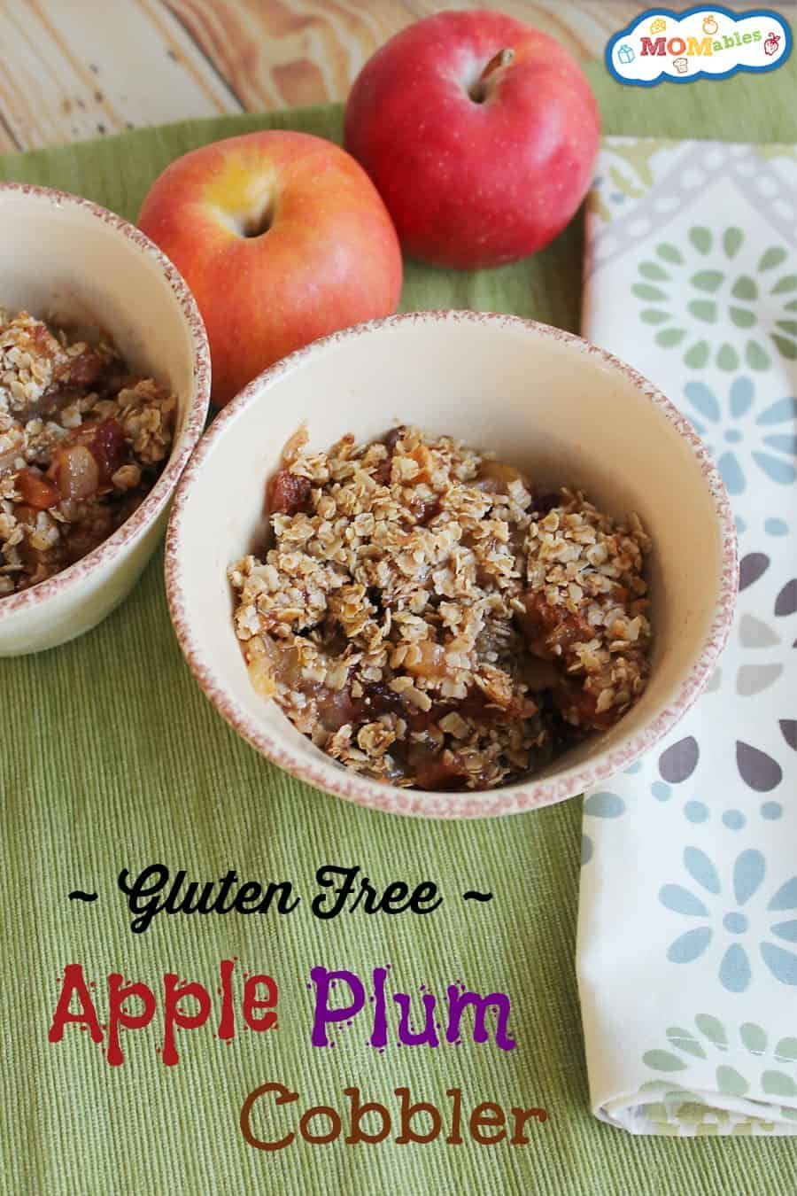 gluten free apple plum cobbler