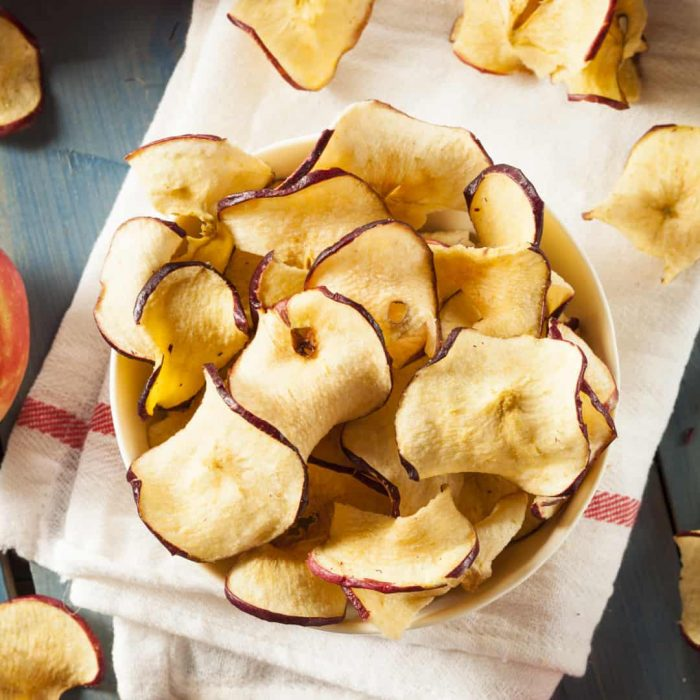large bowl of baked apple chips