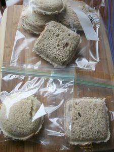Place DIY Uncrustables in bags