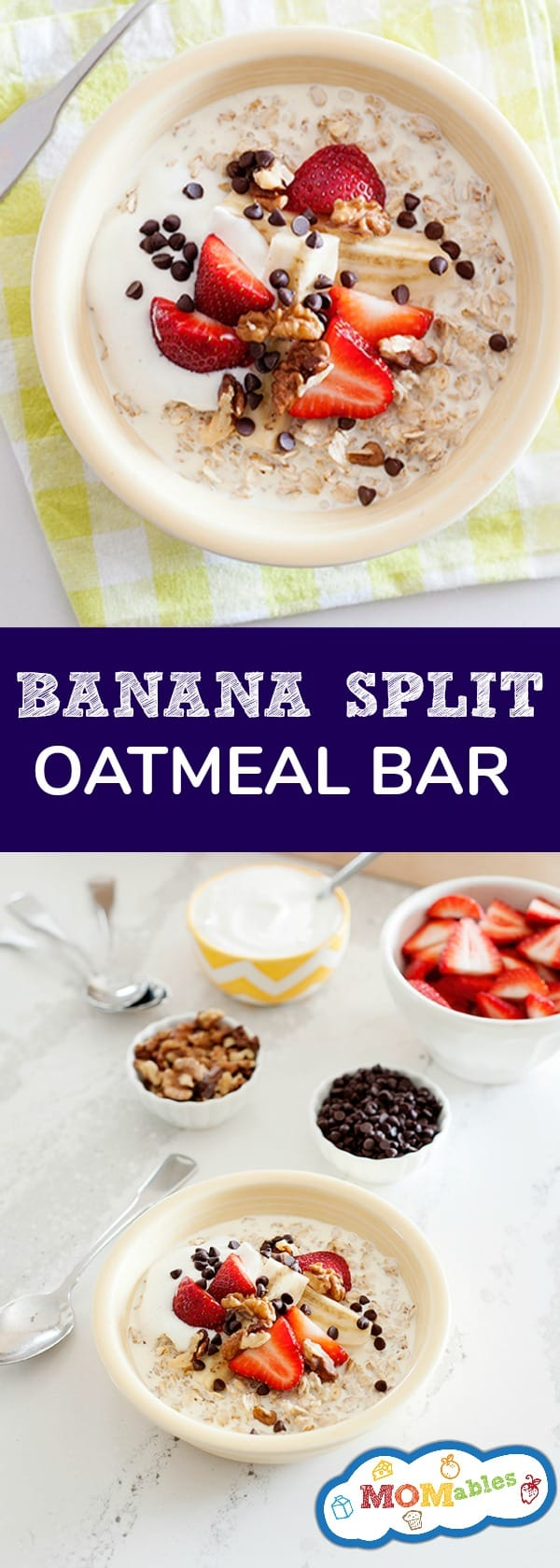 Surprise your family with this Banana Split Oatmeal Bar for breakfast! It's easy to make and full of good-for-you ingredients. You can feel good about eating this dessert for breakfast!