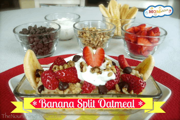 Banana Split Oatmeal Breakfast MOMables.com
