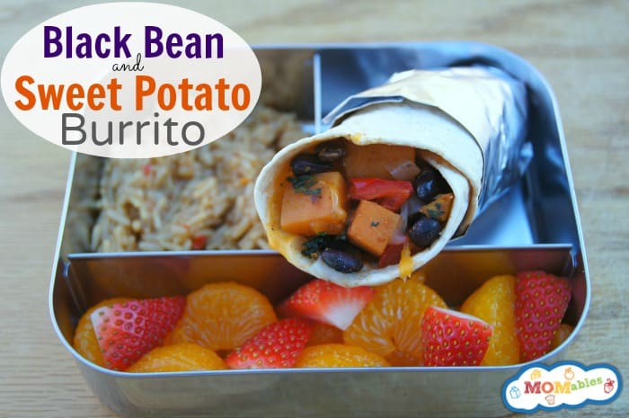 black bean and sweet potato burritos school lunch ideas MOMables.com