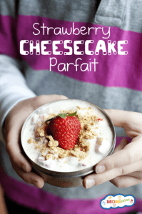 Strawberry Cheesecake Parfait Healthy Dessert Idea and lunch box treat or snack