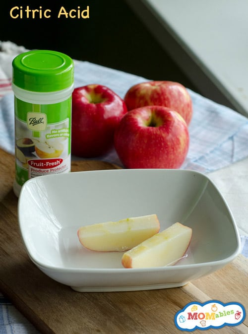 image: apple slices in a shallow bowl with Fruit Fresh