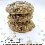 oatmeal chocolate chunk cookies made with applesauce (reduced fat)