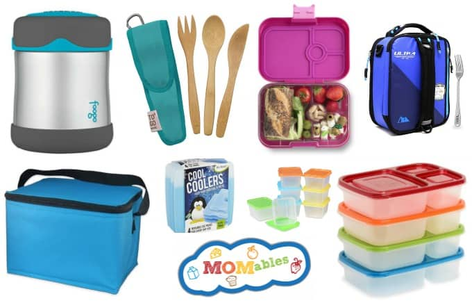 School lunch supplies such as thermos containers, lunch bags, lunch containers, freezer packs, and reusable utensils