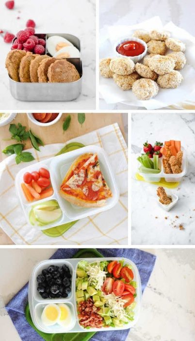 collage of lunches without bread