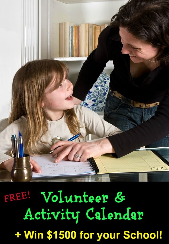 Volunteer Spot Back to School $1500 Giveaway Activity Calendar Back to School