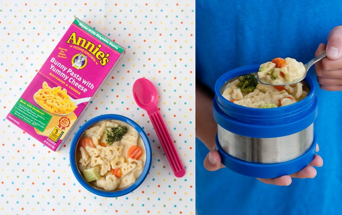 Veggie Macaroni and Cheese Soup Thermos Lunch Idea via MOMables.com