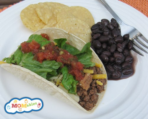 taco dinner with homemade taco shells MOMables.com