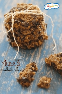 muesli breakfast cookie recipe - all the goodness of granola baked right in! They are also portable! via MOMables.com