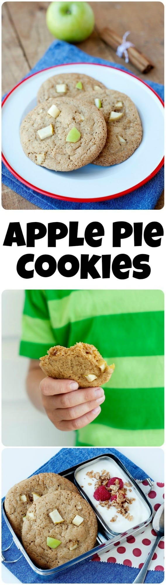 This apple pie cookies recipe is perfect for a delicious lunchbox treat or a bake sale!