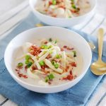 Slow Cooker Loaded Baked Potato Soup is our easy family recipe this week! And this recipe includes the Instapot version for you too! How will you cook this hearty soup recipe?