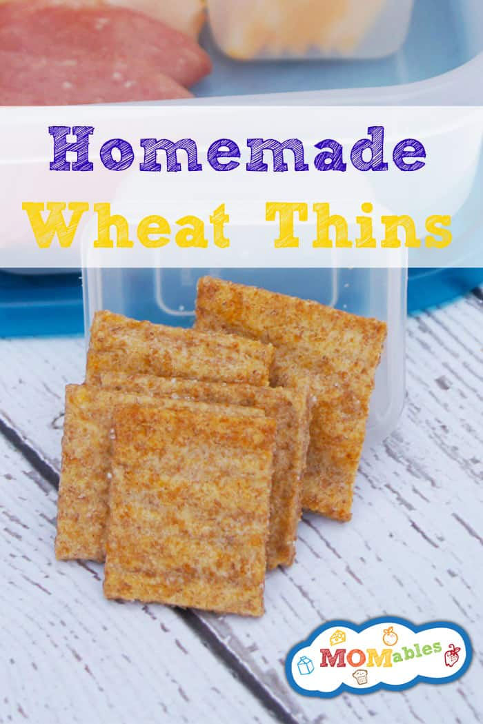 Homemade Wheat Thins that taste better than the real thing! Crunchy, fresh, and delicious -> baked right in! Perfect for the lunchbox too! Recipe via MOMables.com