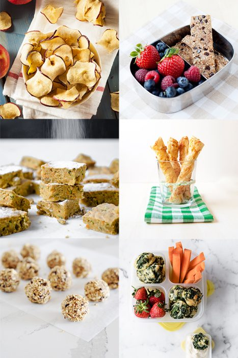 collage of snacks for kids