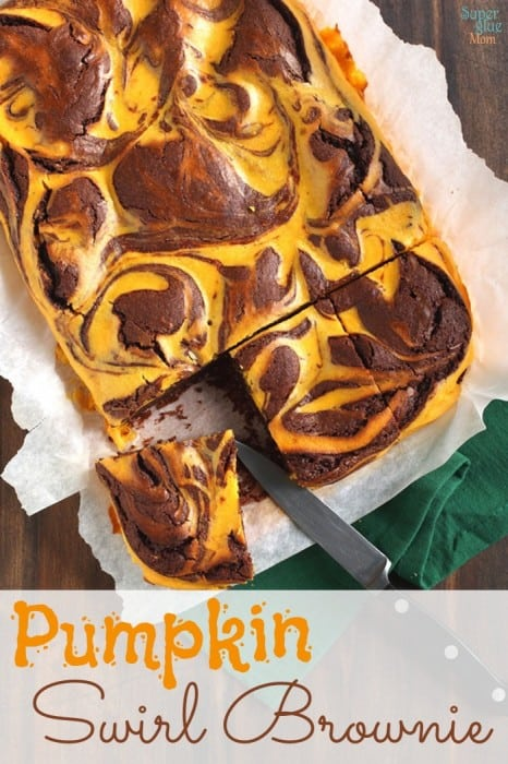 pumpkin swirl brownies recipe via SuperGlueMom.com