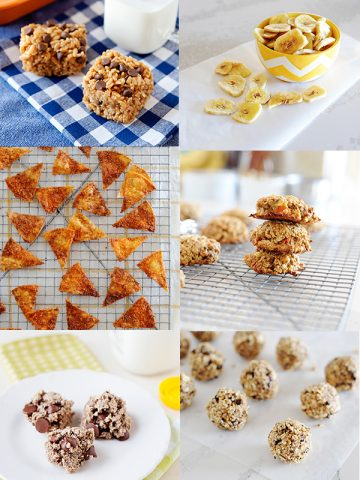 collage of six snack ideas for kids