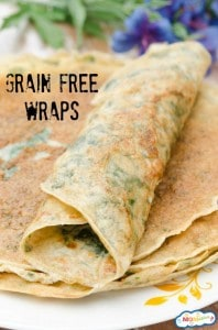 grain free wraps with 1/4 cup shredded spinach added