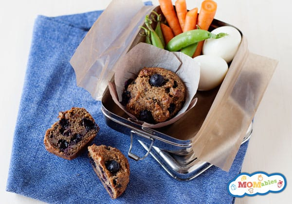 grain free paleo blueberry bran muffins that are perfect for the lunchbox!
