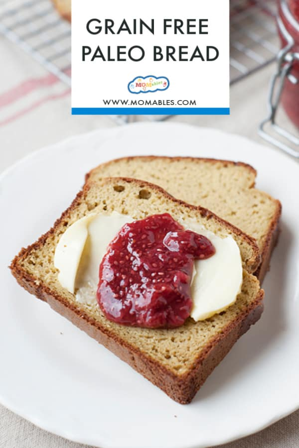 Image: Two slices of homemade bread with butter and raspberry jam. Image text reads: Grain Free Paleo Bread