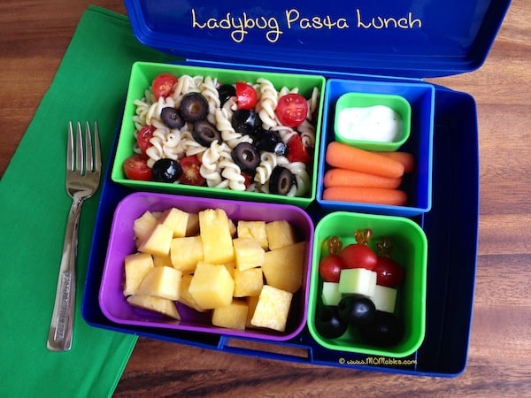 lady bug pasta lunch