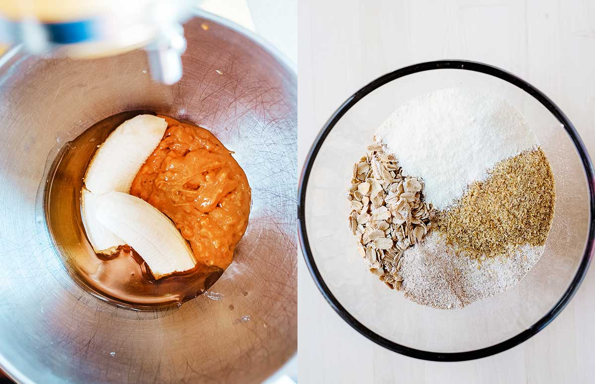 side by side photo of wet and dry ingredients being mixed for oatmeal breakfast cookies