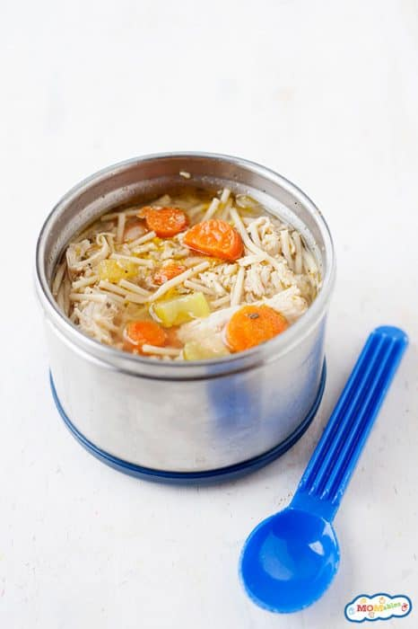 Image: a thermos full of slow cooker chicken noodle soup.