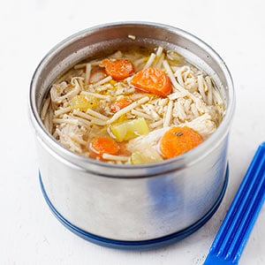 chicken noodle soup in a thermos container
