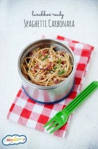 Easy to make spaghetti carbonara recipe every kid will love! This dinner recipe is great for a thermos leftover lunch!