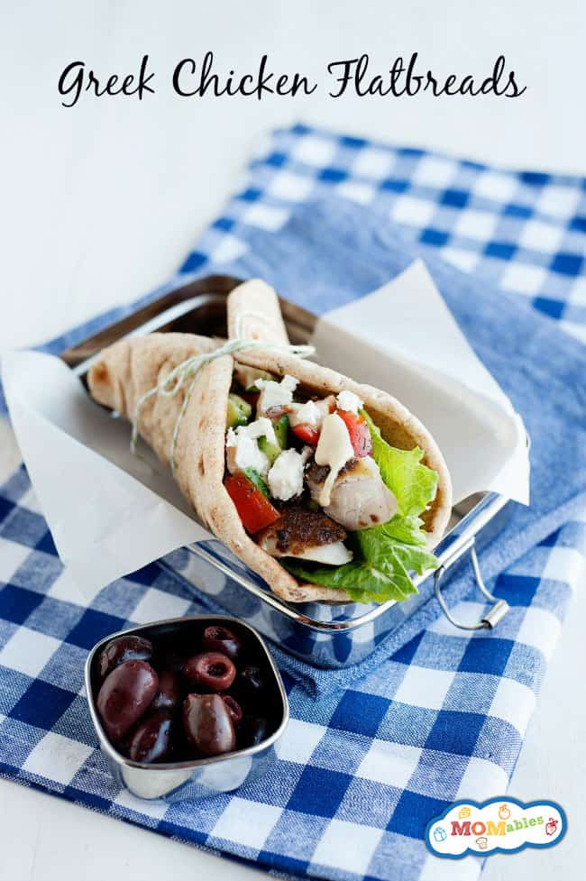 Easy School Lunch or Office Lunch Idea: Greek Chicken Flatbreads
