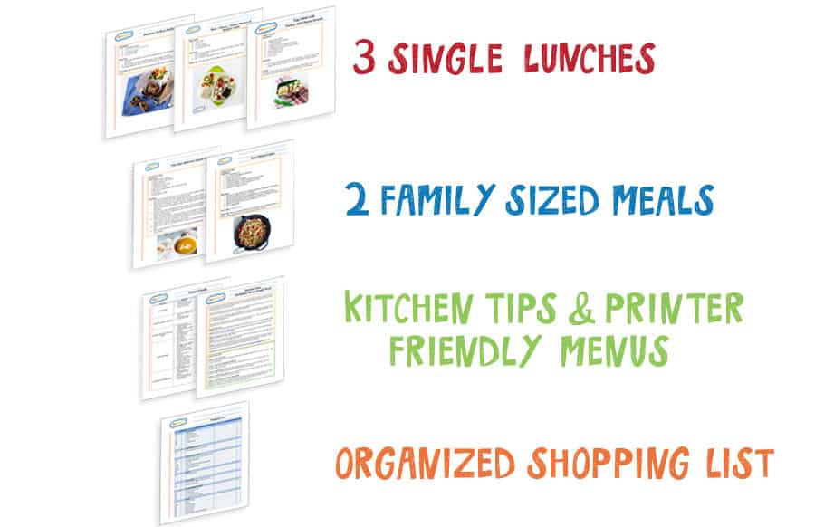 Sample Meal Plans by MOMables.com  free school lunch ideas