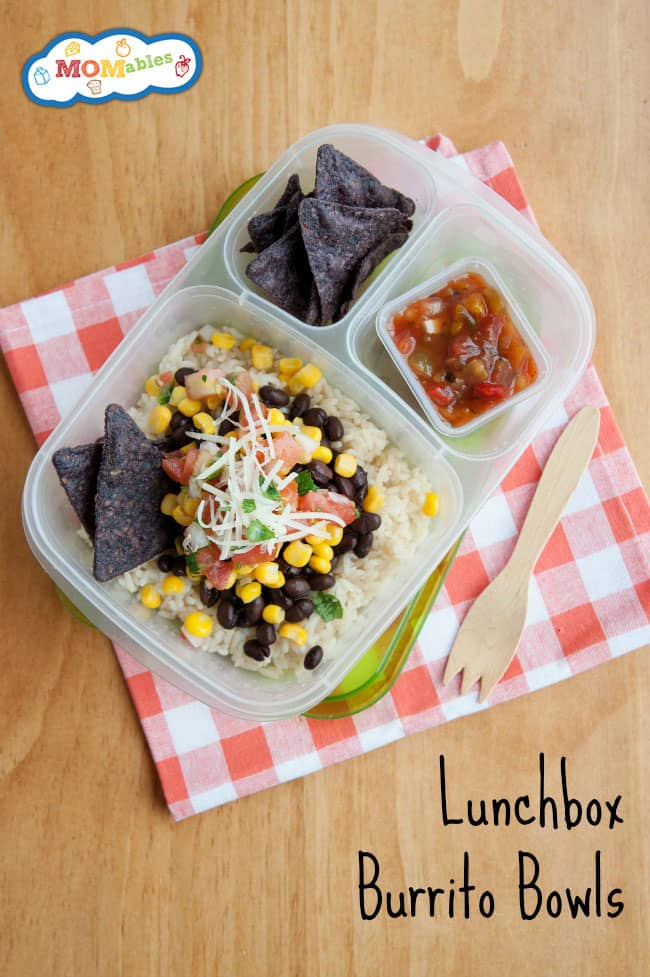Lunchbox Burrito Bowls - MOMables.com - A great idea to use up leftovers for lunch!
