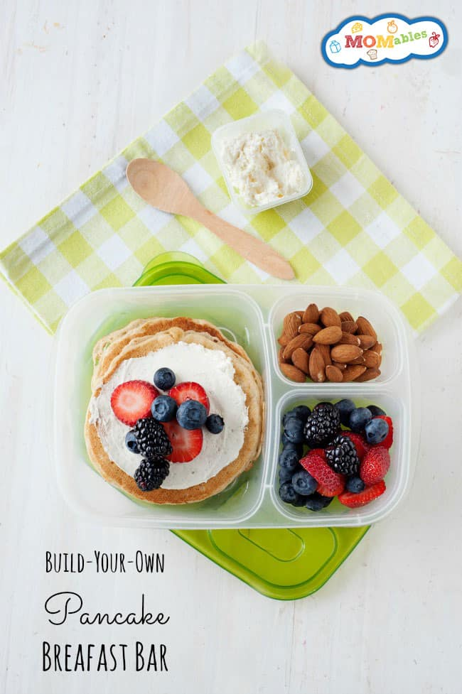 Take plain pancakes for a spin with this easy and fun pancake breakfast bar idea!