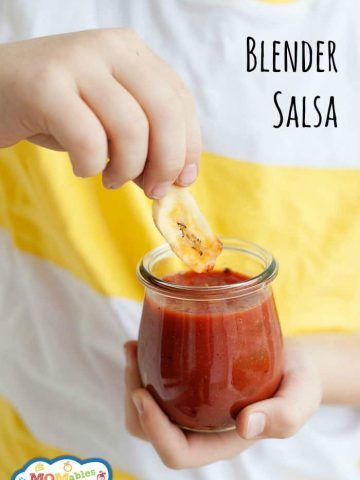 1,2,3 blend! The blender does all the work in this easy blender salsa recipe.