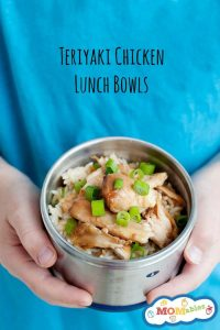 healthy school lunch idea: teriyaki chicken lunch bowls