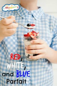 Fruit and Yogurt Parfait: Red, White, and Blue