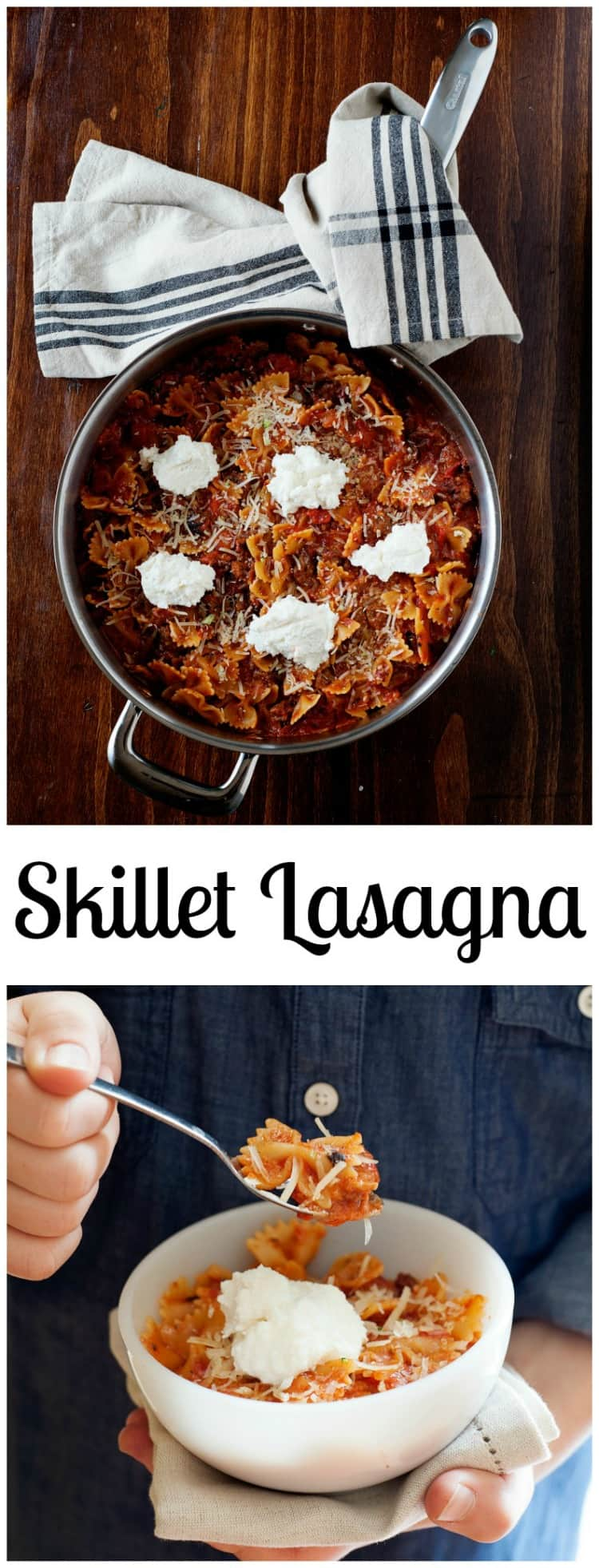 This kid approved Quick and Easy Skillet Lasagna recipe, has the meaty, tomato sauce and cheesy goodness of traditional lasagna, but takes a lot less time to make. A win for everyone when it comes to putting dinner on the table.