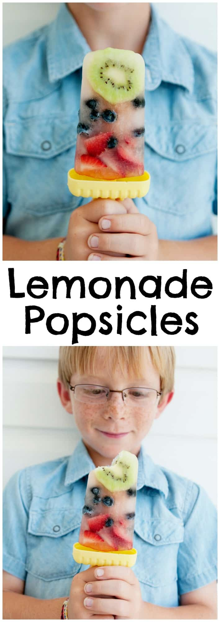 Your kids are going to love these fresh fruit and lemonade popsicles! They are a fun way to eat more fruit!