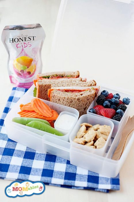 healthy lunchboxes by MOMables.com filled with a fresh sandwich, veggies, fruit, some bunnies.