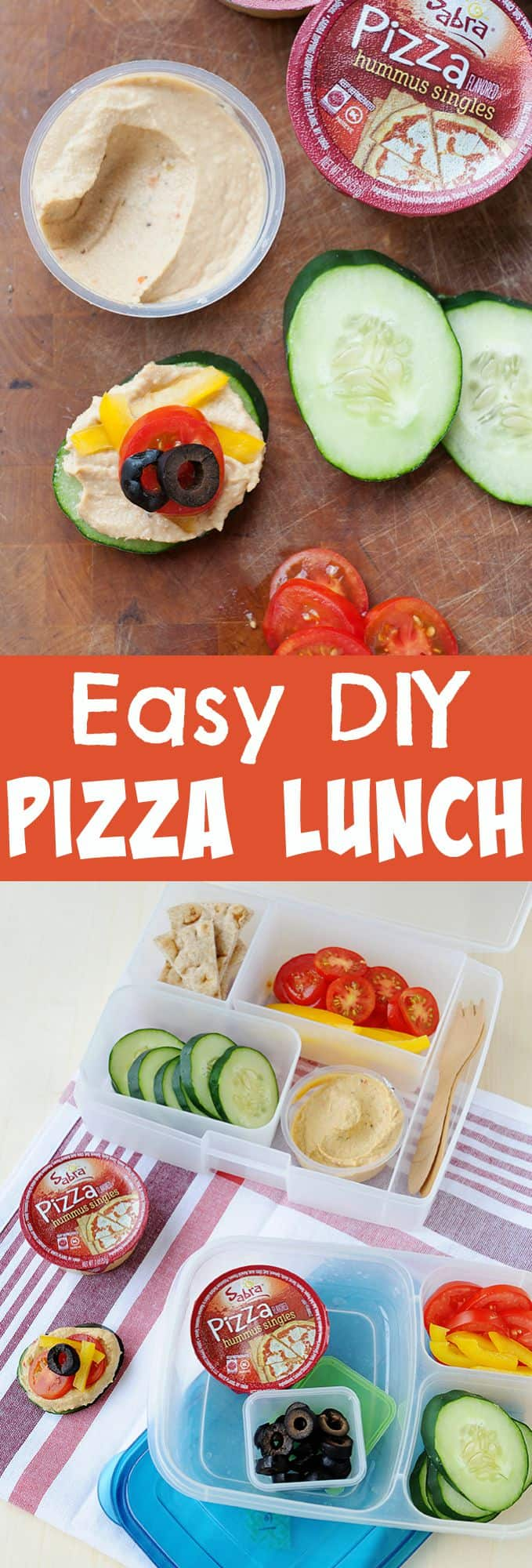 Looking for a healthy lunch idea your kids will love? Check out this DIY Pizza lunch! super easy to make with fresh ingredients.