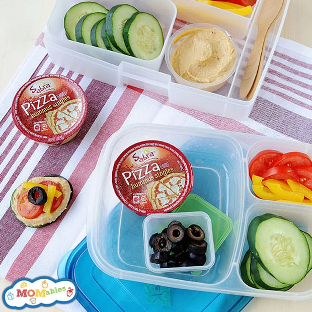 healthy school lunch idea: hummus pizza lunch with veggies!