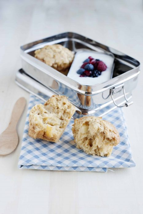 these apple fritter muffins are a great nut-free snack for the classroom