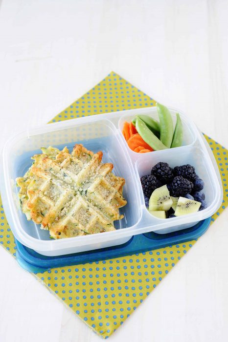image: gluten free savory waffles in a lunchbox