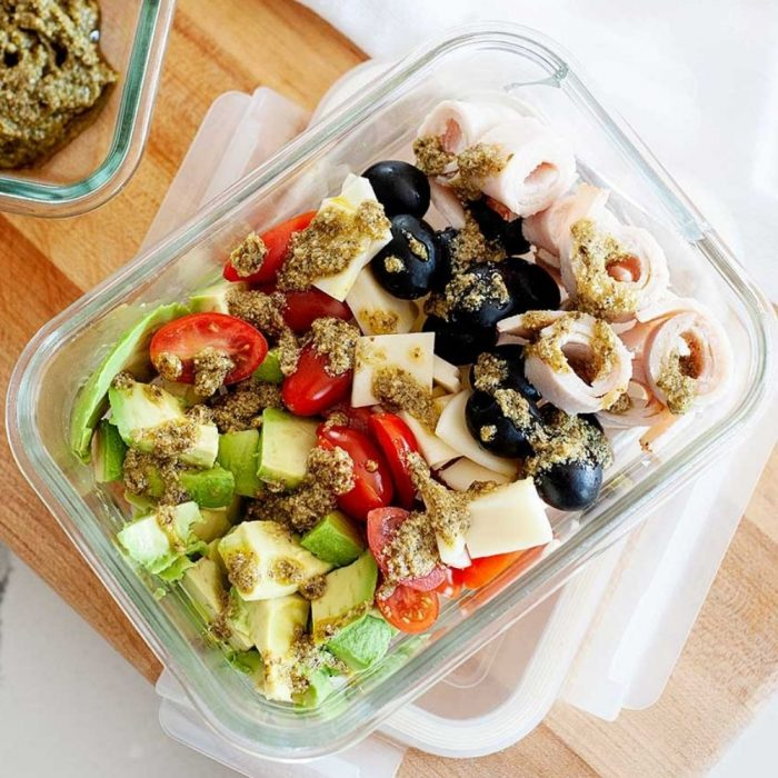 deconstructed salad in a lunch container
