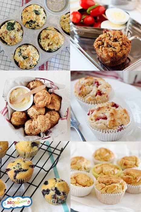 collage of six photos of different muffin recipes