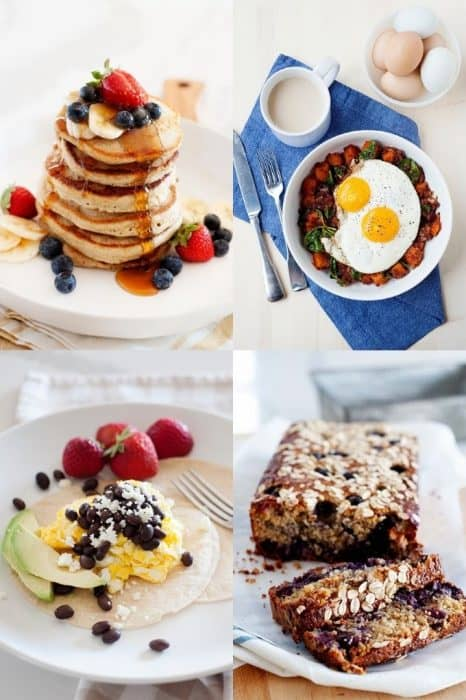 Image: a collage of banana oatmeal pancakes, butternut squash and chorizo hash, black bean breakfast tacos, and blueberry oat bread