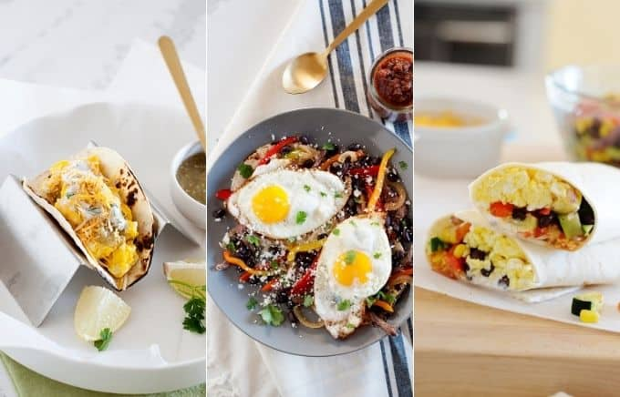 Image: collage of huevos verdes tacos, steak and egg breakfast tacos, and southwest breakfast burritos.